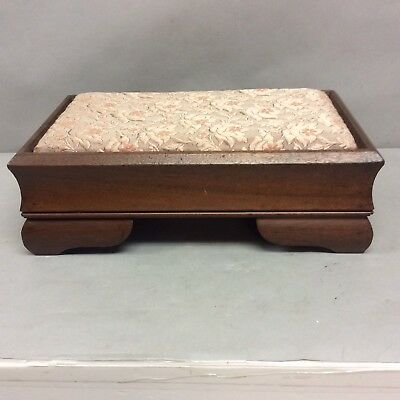 "Mahogany Foot Stool Fabric Foot Rest and Storage Underneath 5.5"" High"
