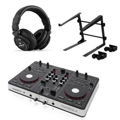 Resident Dj Kontrol 3 Usb Midi Dj Controller Black Headphones And Laptop Stand