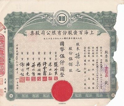 S1367, Shanghai Double Cosmetic Co., Stock Certificate 500 Shares, 1944