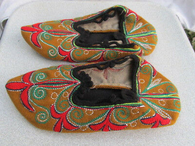Antique Turkish Ottoman Empire Folk Art Slippers Set Silver Threads Embroidery
