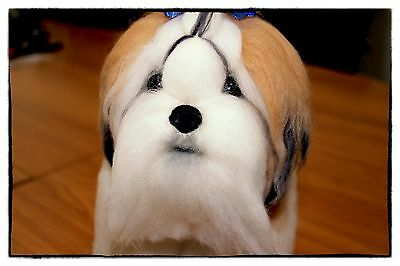 Artist Needle Felted Dog Shih Tzu Realistic interior toy Handmade Pet copy