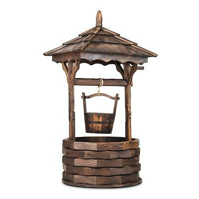 Home Garden Decoration Well Fountain Firwood Traditional Planter Wooden Box