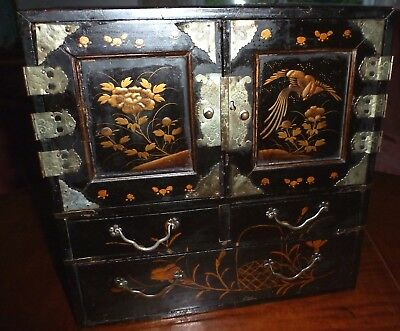 Antique Lacquered Wood Japanese Table Cabinet Tansu Jewelry Box