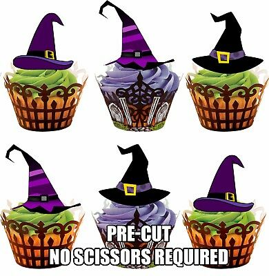 PRE-CUT Halloween Witch Hats - Edible Cupcake Toppers Party Cake Decorations