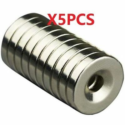 N50 Strong Round Neodymium Magnets Countersunk Ring 5mm Hole 20x4mm 5Pcs #
