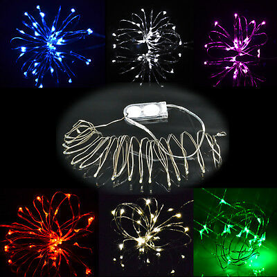10/20 Small Micro LED Fairy Xmas Lights Silver Wire Button Battery Powered 1m/2m