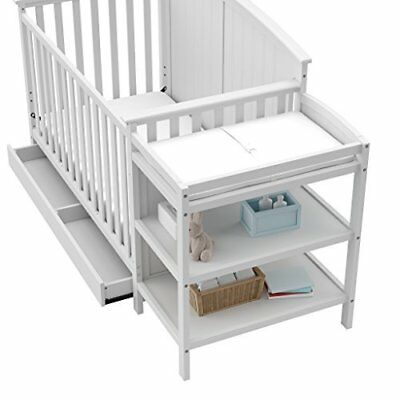 4-in-1 Child Convertible Crib and Changer with Drawer, JPMA Certified, White