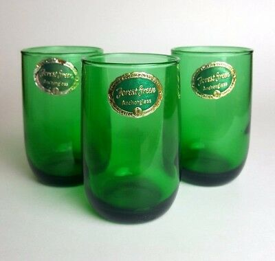 Fire-King Forest Green 5 oz Glass Juice Tumblers Roly Poly Cups with Labels