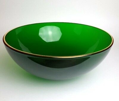 Fire-King Anchor Hocking Forest Green Punch Bowl Vintage Salad Serving Mixing