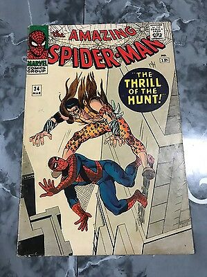 """The Amazing Spider-Man # 34 """"Thrill Of The Hunt"""" FN- 5.5 Silver Age Comic Kraven"""