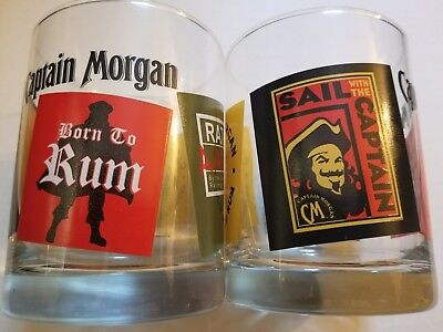 Captain Morgan Bar Glass Spiced Rum Born To Rum 12oz Lot Of 2 FREE SHIPPING! DAD