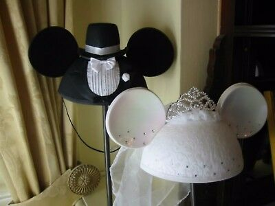 Licensed Mickey And Minnie Mouse Bride And Groom Ear Hats~Disney Parks~ Set Of 2