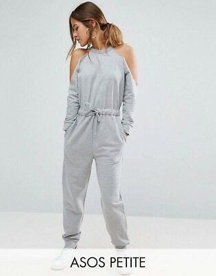 ASOS Petite Women's Casual Light Grey Jumpsuit Cold Shoulder Size 12