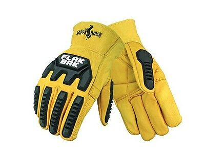Premium leather work gloves with impact reduction (Size Adult Large)