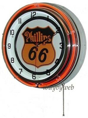 "18"" Orange Phillips 66 Sign Double Neon Man Cave Game Room Wall Clock Metal NEW"