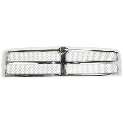 New Chrome Shell w/ Silver Insert Grille for Dodge Ram 1500 2500 3500 1994-2002