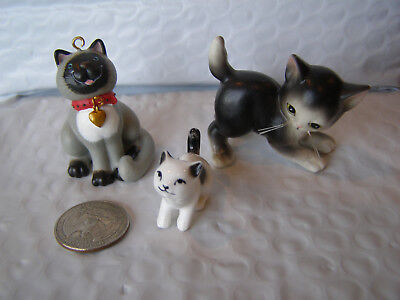 """3 Small Cats> 1 Porcelain - 2 Man Made Resin> Approx. 1"""" To 2"""" Tall"""