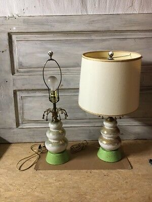 Mid Century Table Lamps Pair Atomic Eames