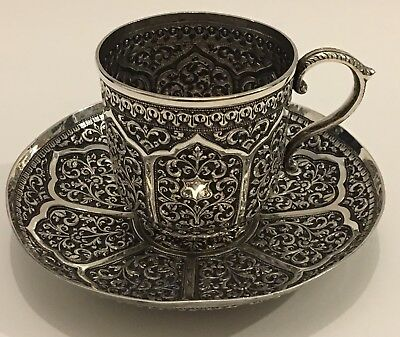 EXQUISITE ANTIQUE ISLAMIC INDIAN CUTCH/ KUTCH SILVER TEACUP & SAUCER 253g
