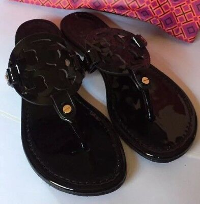 Tory Burch Miller Patent Black Leather Sandal Size 8M Women's
