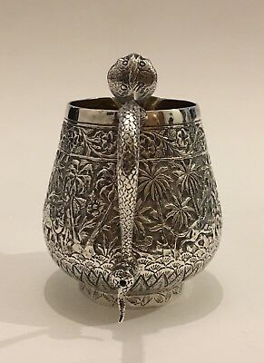 EXQUISITE QUALITY CHASED ISLAMIC INDIAN SILVER JUG hallmarked