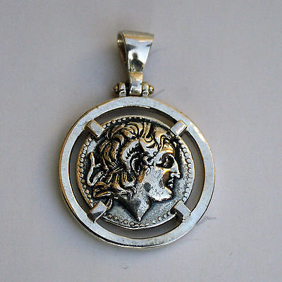 ALEXANDER THE GREAT GREEK COIN sterling silver 925 CODE 12
