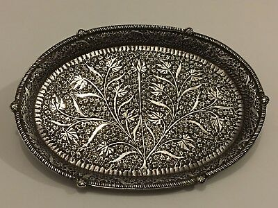 Antique Islamic Kashmir Indian Silver Tray