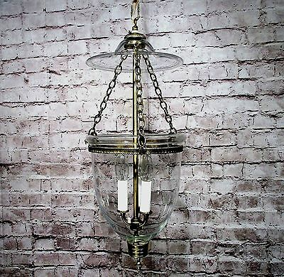 Vintage Chandelier Brass Hurricane Clear Glass Library Light Fixture Restored