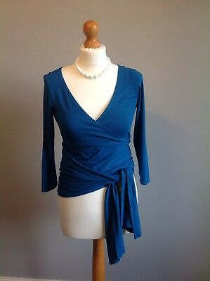 Gorgeous Isabella Oliver Maternity Wrap Top In A Teal/Blue Colour Size 2 (UK 10)
