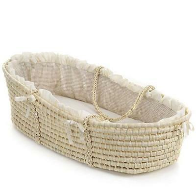 Badger Basket Moses with Liner, Tan Gingham