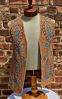 VTG 1960s Hippie Wool Vest Embroidered Handmade No Tags Tan Turquoise  Floral