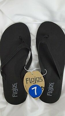 NEW Flojos 170 Women's Eve Thong Flip-Flop Flat Sandals - Black Size 7