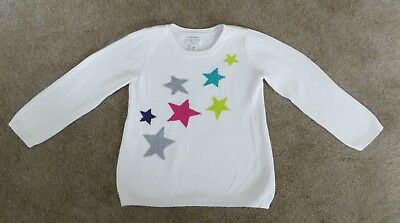 The Children's Place Girl's White - Multi-Color Stars Long Sleeve Sweater 3T