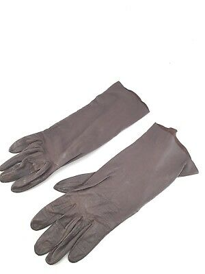 """Opera Gloves Vintage Brown Leather Ladies Womens High Society Stunning 10"""""""