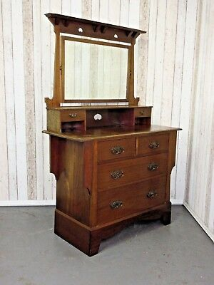 An Antique Arts and Crafts Solid mahogany Dressing Chest Table ~Delivery Availab