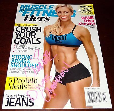 Charlotte Flair WWE Signed INSCRIBED Divas Champion Muscle & Fitness Magazine