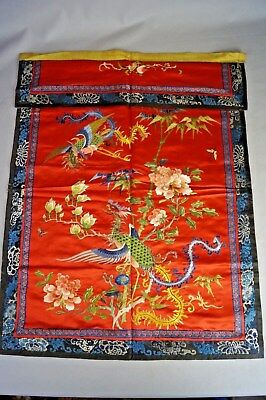 Antique Chinese Embroidery Forbidden Stitch Red Silk Panel Phoenix Birds