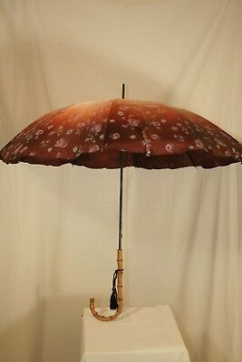 Vintage H-J HJ Pink & Brown Floral Umbrella With Knobby Bamboo Handle Pretty
