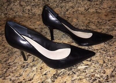 Nine West Barbe black pumps size 9M patent leather pointy toe high heels shoes