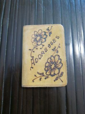 Miniature antique address book never used leather cover gilt pages Berlin, NH