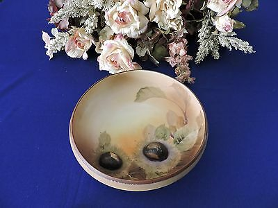 Unique Footed Nippon Bowl with Flowers and Sculpted Acorns. (Embossed) 1891-1921