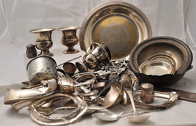 Lot of Sterling Silver For Scrap or Resale 1409 Grams Bowls Spoons Plate
