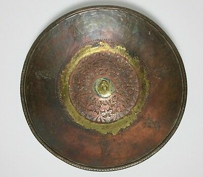 Antique 19TH CENTURY OTTOMAN ISLAMIC COPPER BOWL BRONZE HAMMERED CUT ENGRAVED