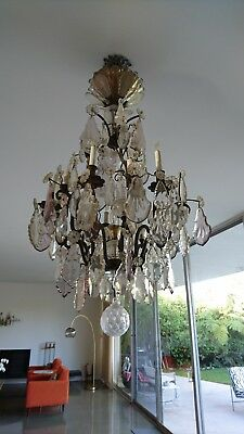 Vintage Amethyst and Clear Crystal Chandelier 22 Lights