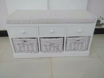 White Wicker Storage Bench with Baskets, Cushion Seat (3 wickers with 3 draws)