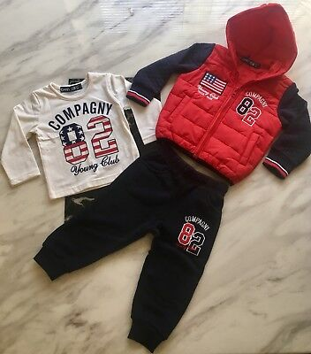 New Baby Boys  Red And Navy 3 Piece Tracksuit Age 9-12 Months