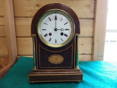 French Mahogany Mantle Clock By Japy Freres Circl 1890s In Fully Restored Condit
