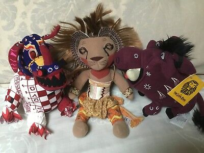 The Lion King Broadway Musical Toy Bundle ~ Rare Trickster, Simba & Pumbaa
