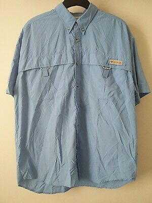 Mens Columbia Performance Fishing Gear PFG Vented Shirt Size Medium Blue