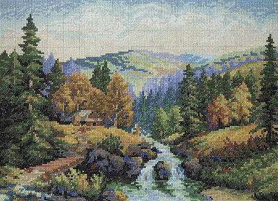 HANDMADE TAPESTRY cross stitch nidlepoint mountain autumn landscape PICTURE